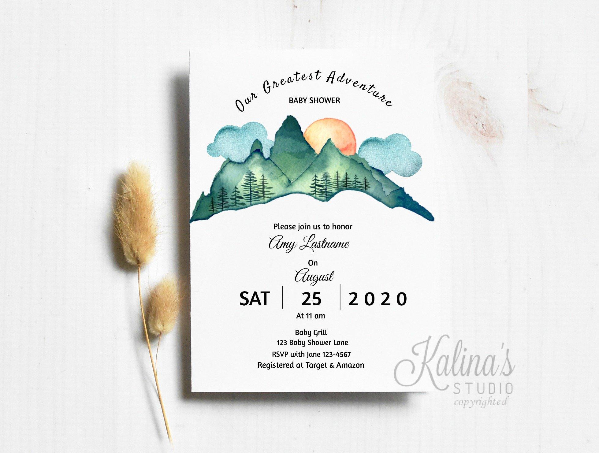 adventure baby shower invitations