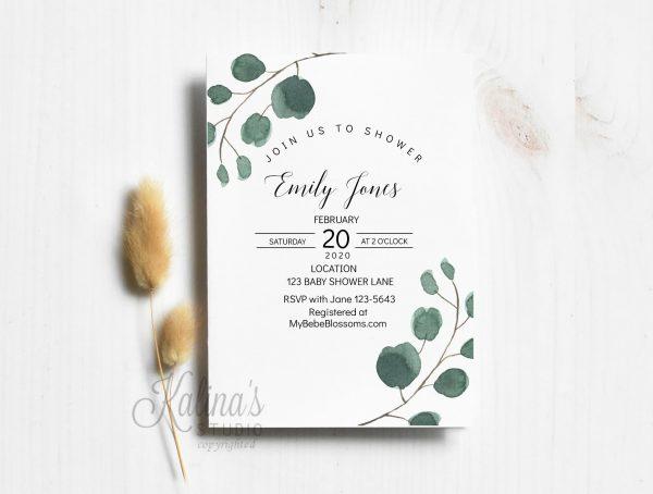 greenery baby invitation