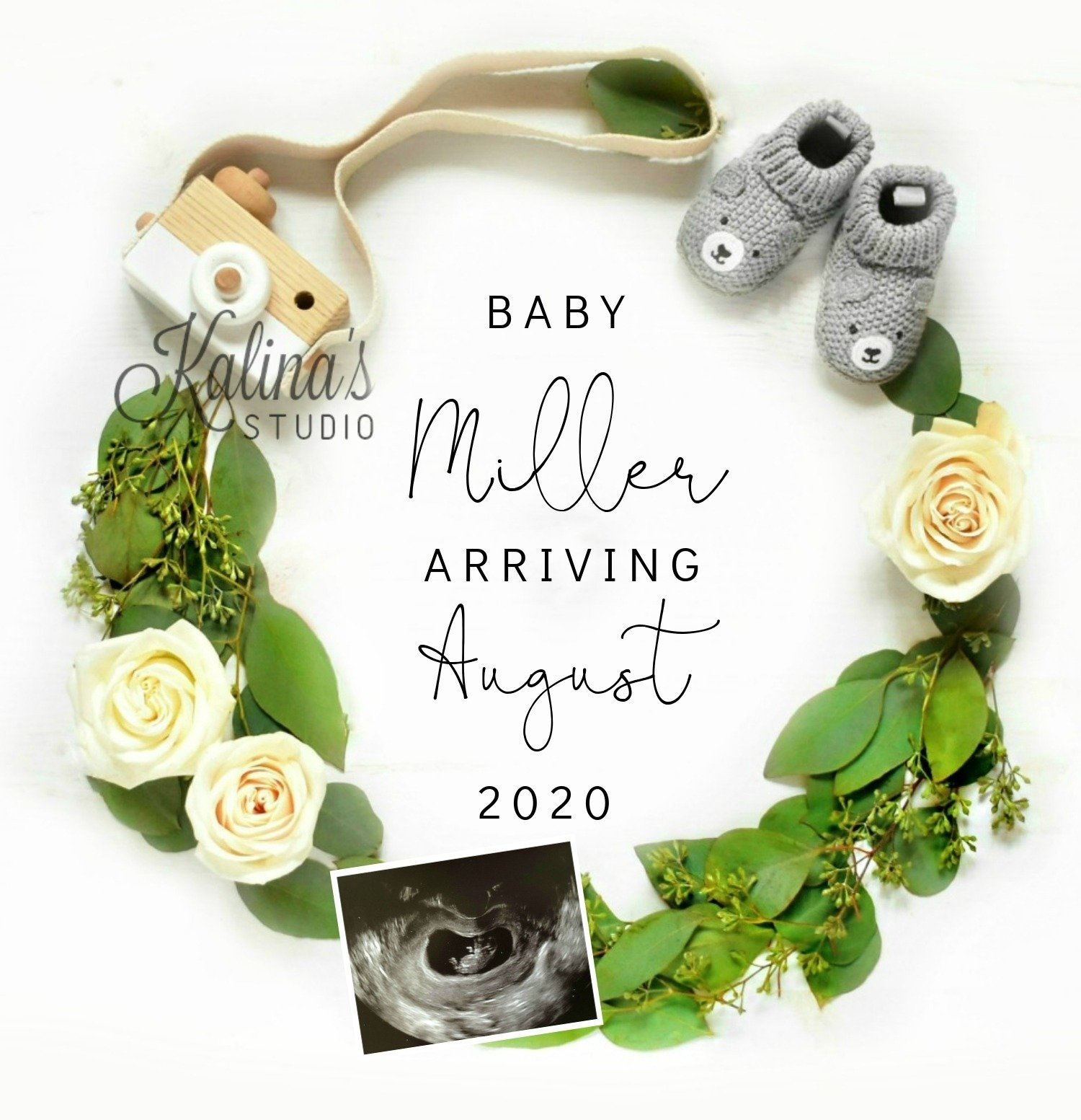 white simple baby announcement